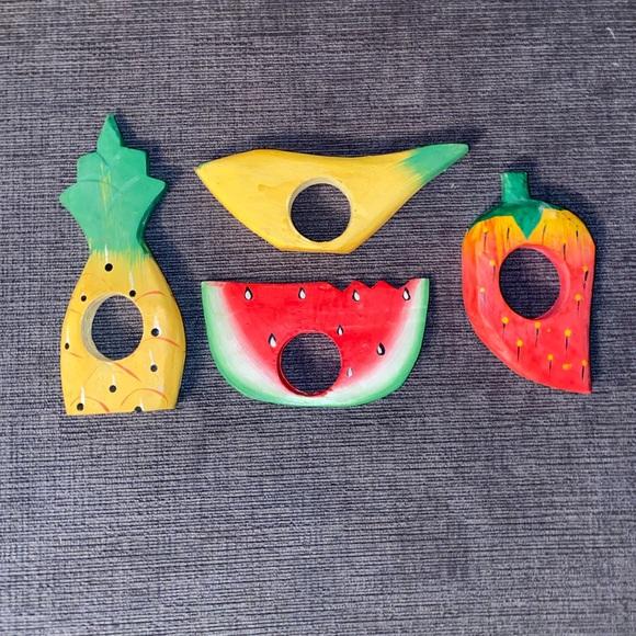 Vtg hand carved wooden fruit napkin rings